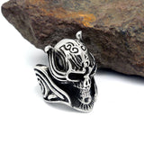 Wolf's Fang Skeleton Head Titanium Steel Silver Men's Ring
