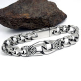 Vintage Connected Skeleton Claws Titanium Steel Silver Men's Bracelet