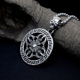 Vintage Ghost Heead and Clover Pattern Titanium Steel Silver Men's Necklace