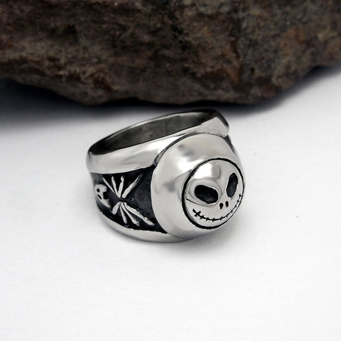 Personalized Vintage Skull Titanium Steel Silver Men's Ring