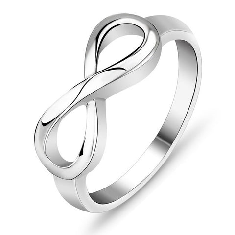 Simple 925 Sterling Silver Infinity Endless Love Women's Ring