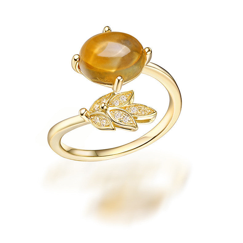 Leaf Egg-shaped Citrine Ring in Silver