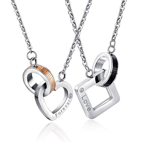 Love Forever Titanium Steel Couple Necklace