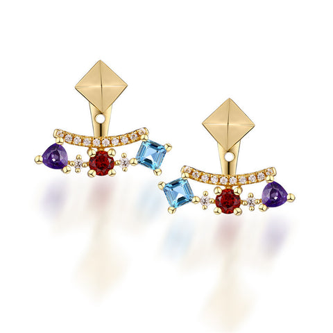 Shiny Geometry Gem Silver Earrings For Women