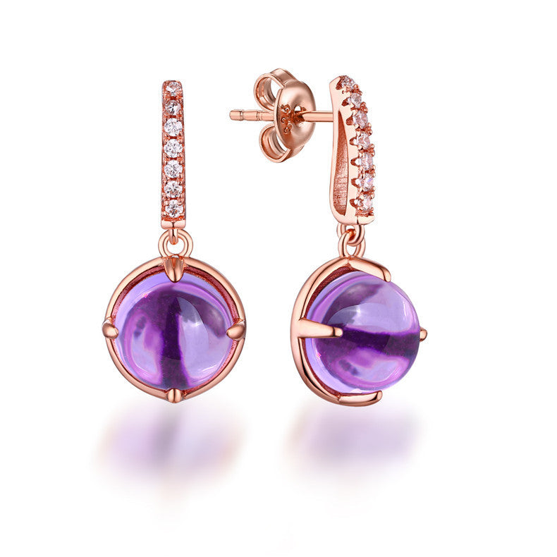 Charming Rose Golden Dangling Amethyst & Diamond Earrings