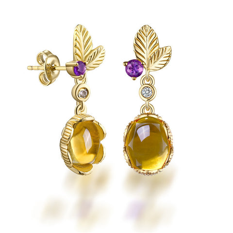 Double Leaves Egg-shaped Drop Earrings