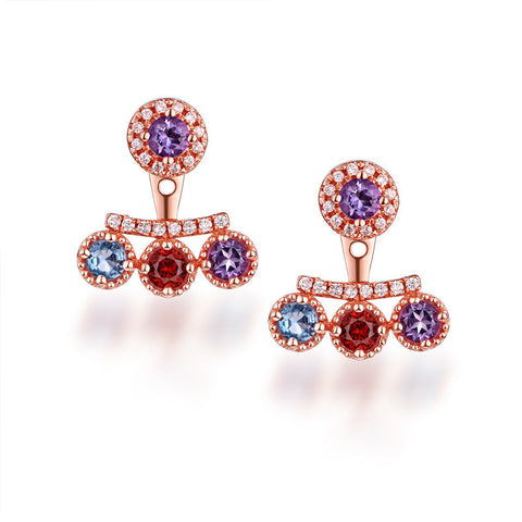 Fancy Natural Gemstone Diamond Rose Golden Earrings