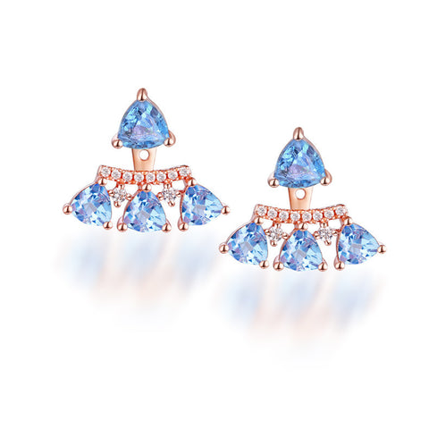 Triangle-Cut Blue Topaz Earrings in Sterling Silver