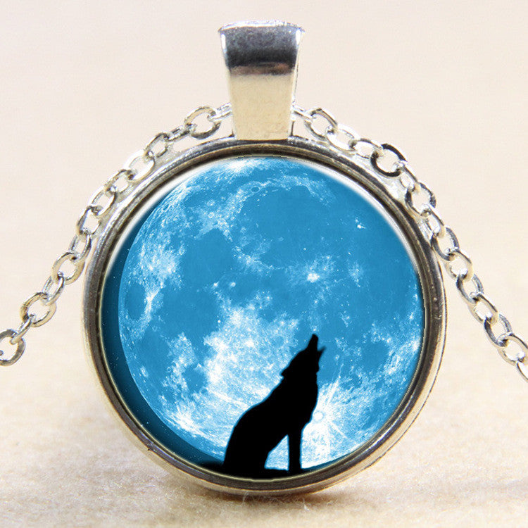 Wolf Totem Time Gem Pendant Necklace