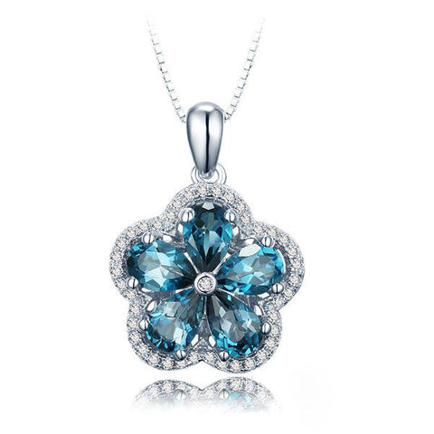 Wintersweet Pattern with Blue Gems Decorated 925 Sterling Silver Necklace