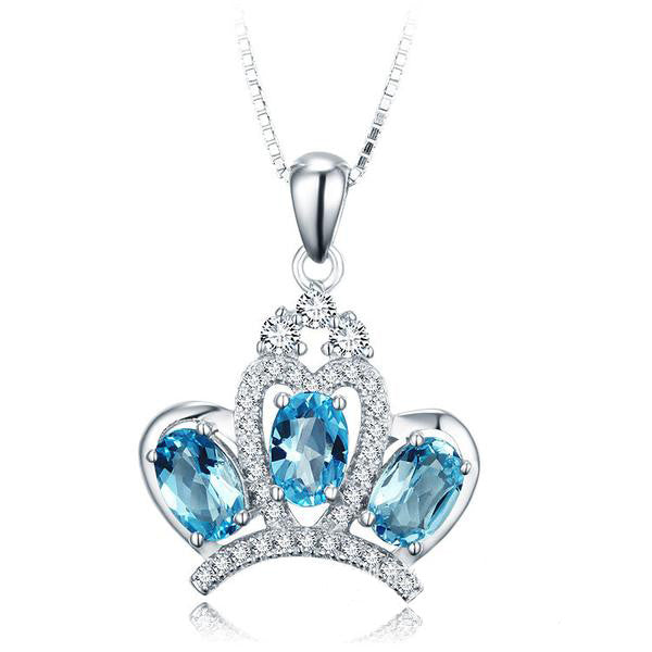 Princess' Crown Pattern with Blue Gems Decorated 925 Sterling Silver Necklace