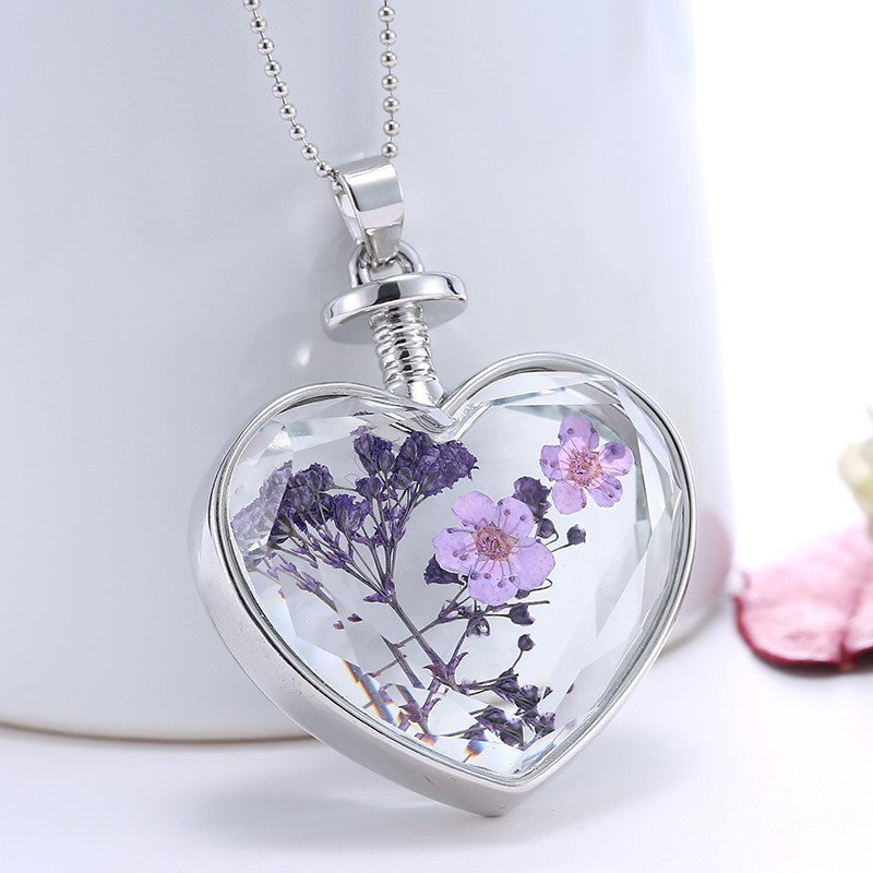 Lavender Heart-shaped Crystal Glass Necklace