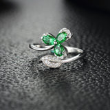 Elegant Clover Pattern with Green Gems  925 Sterling Silver Ring
