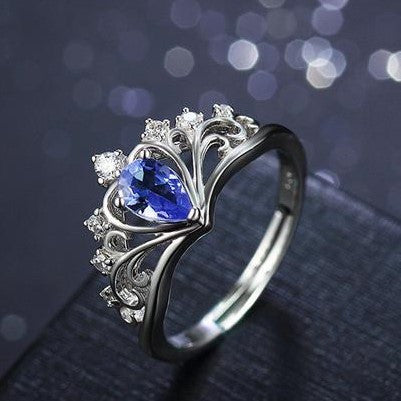 Elegant Queen's Crown Pattern with Blue Gem 925 Sterling Silver Ring