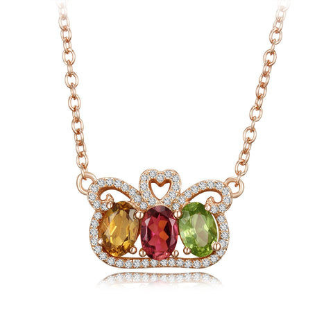 Crown Pattern with Triple Tourmaline 925 Sterling Silver Necklace
