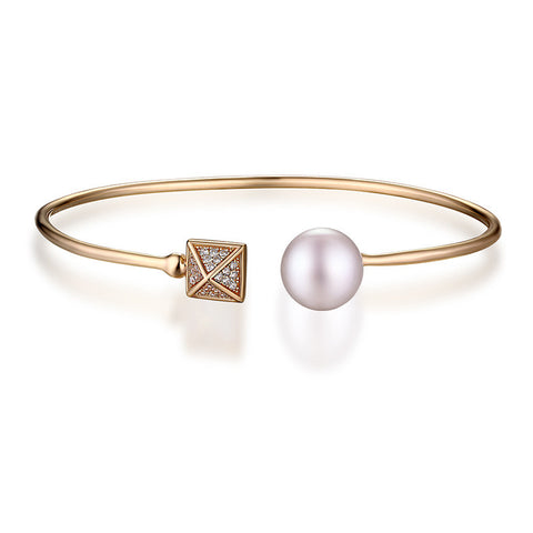 Simple 925 Sterling Silver Pearl End Open Cuff Bangle