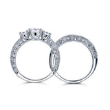 Round Cut Diamond Hollow Engagement Ring Set