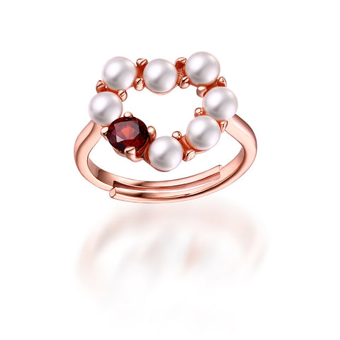 Romantic Heart-shaped Pearl and Garnet Silver Ring