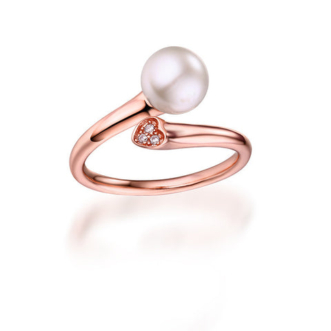 Adjustable Rose Golden Pearl End Cocktail Ring