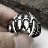Personalized Punk Ghoul Hand Titanium Steel Silver Men's Ring