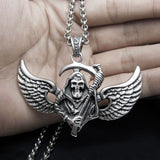 Punk Death with Wings Titanium Steel Silver Men's Necklace