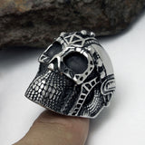 Personalized Gorgeous Iron Man Designed Skeleton Head Titanium Steel Silver Men's Ring