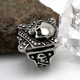 Distinctive Armour Pattern Skull Head Titanium Steel Silver Men's Ring