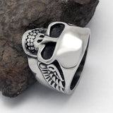 Personalized Punk Rock Ghost Heead Designed Titanium Steel Silver Men's Ring