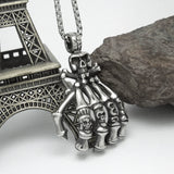 Punk Style Skull Hand Titanium Steel Silver Men's Necklace