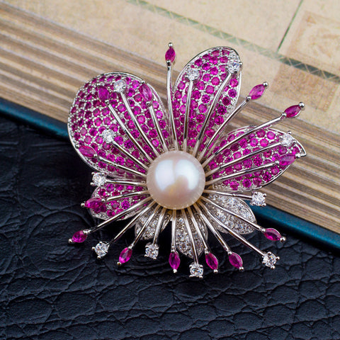 Fashionable Flower 925 Sterling Silver Pearl Zircon Brooch