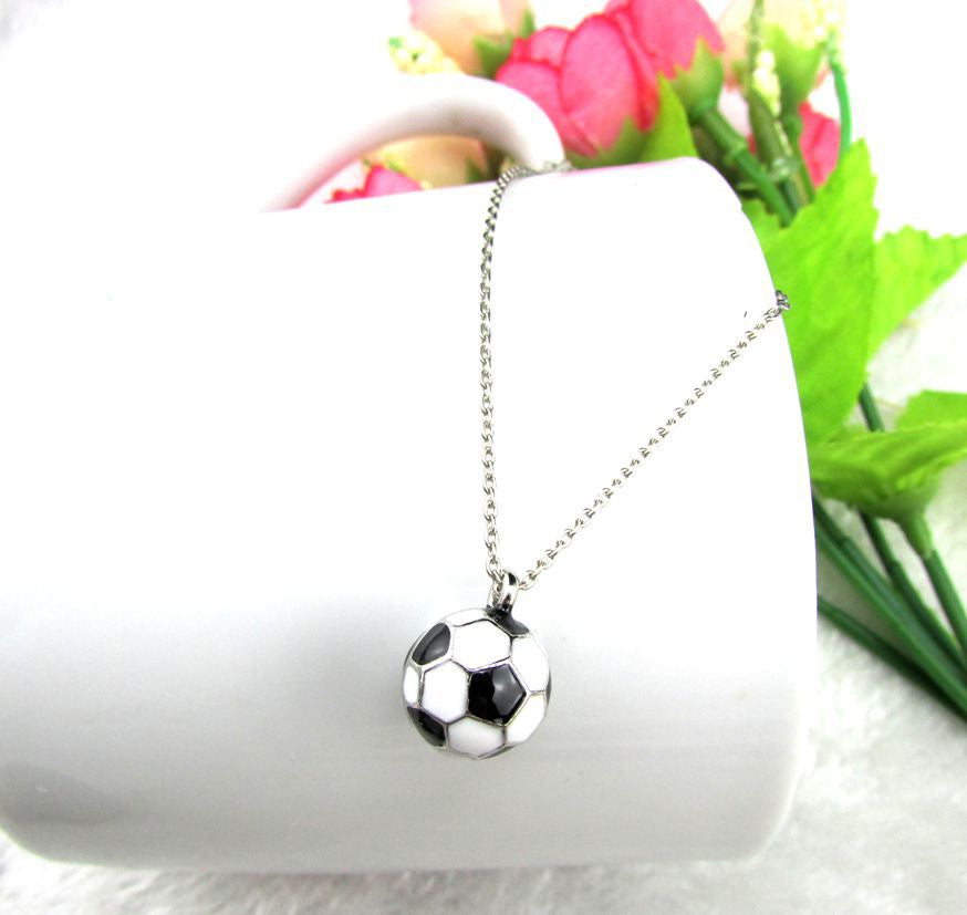Accessories Sporty Soccer Ball Two Sided Pave Football Pendant Necklace