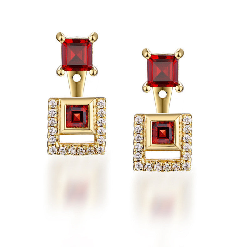 Square Garnet Gemstone Dolen Drop Earrings