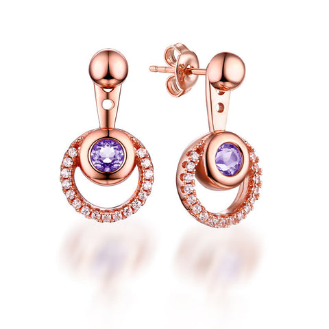 Stylish Rose Golden Silver Hoop Drop Earrings