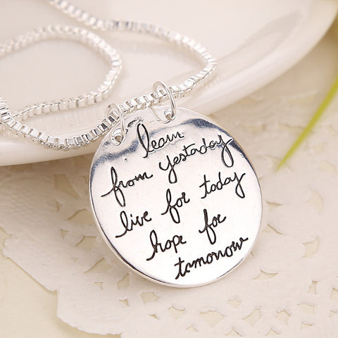 "Inspirational Quote Stamped  ""learn from yesterday"" Pendant Necklace"
