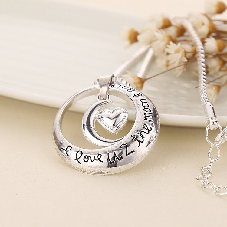 "Love Words Engraved ""i love u 2 the moon and back"" Pendant Necklace"