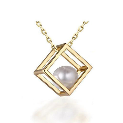 Stylish Rubik's Cube 925 Sterling Silver Pearl Pendant Necklace