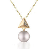 Polished Pyramid with Pearl Pendant Necklace in  Sterling Silver