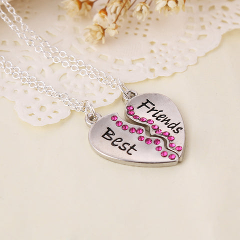 Best Friend Rose-Carmine Zircon Heart Shaped Pendant Necklaces