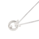 925 Sterling Silver/Pearl Fly to Moon Necklace