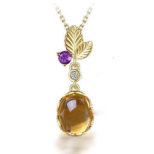 Luxurious Golden Natural Citrine Silver Necklace