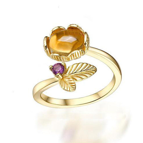 Lovely Leaf and Flower End Cuff Ring