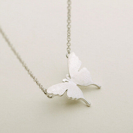 Minimalist Butterfly Pattern 925 Sterling Silver Necklace