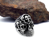 Personalized Unique Designed Skull Head Titanium Steel Silver Men's Ring
