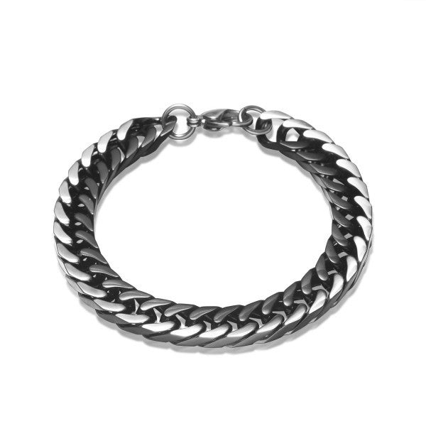 Silver Black Curb Stainless Steel Men Chain Bracelet