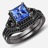Women's Cocktail Rings Wedding Princess Cut CZ Inlaid Black Gold Plated Black
