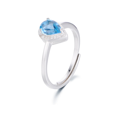 Waterdrop-shaped Blue Gem with Zircon Surrouded 925 Sterling Silver Ring