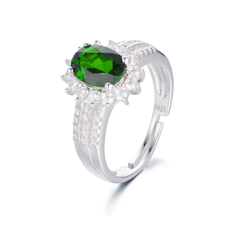 Sunflower Pattern with Green Gem Decorated 925 Sterling Silver Ring