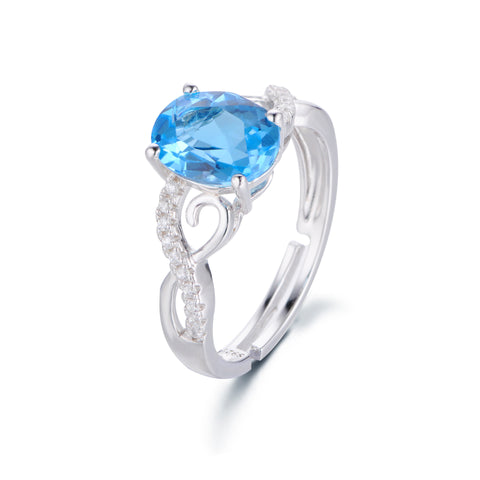 Elegant Wave Pattern with Single Blue Gem 925 Sterling Silver Ring