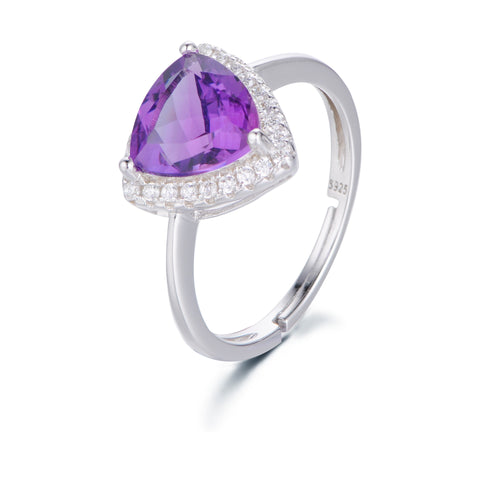 ElegantTriangle Purple Garnet with Zircons Surrounded 925 Sterling Silver Ring
