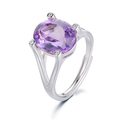 Simple Single Round Gem with Crotch Claw 925 Sterling Silver Ring